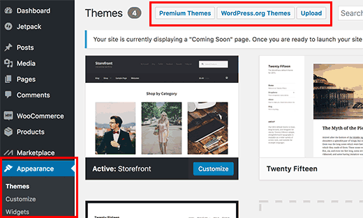 changer le theme woocommerce