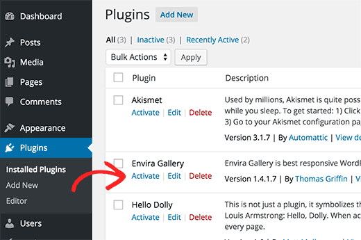 activer plugin wordpress ftp