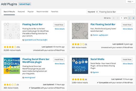 page de recherche de plugin wordpress